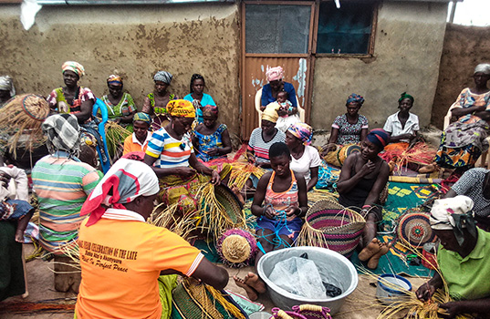 Dorcas trains women in basket weaving skills