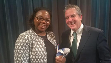 Fiona Mavhinga and Gene Sperling at the Brookings CHARGE event in New York